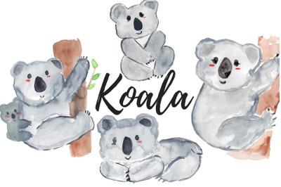 Watercolor koala clipart