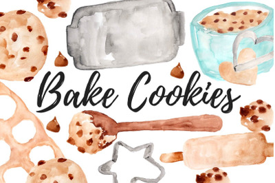 Watercolor cooking baking clipart