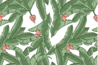 Tropical banana leaves seamless pattern #1