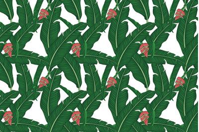 Tropical banana leaves seamless pattern #2