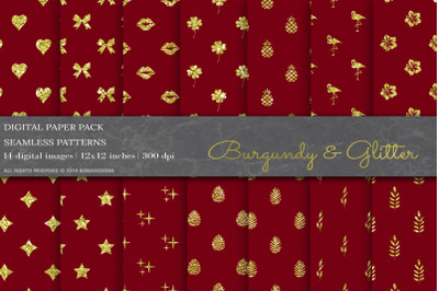 Burgundy Glitter Digital Papers