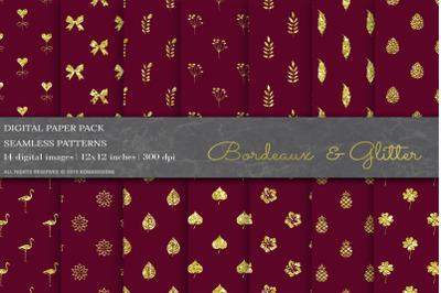 Bordeaux  Glitter Digital Papers