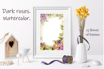 Dark roses. Watercolor. 15 flower of frames.