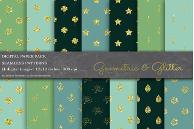 Gold Glitter Geometric Digital Papers