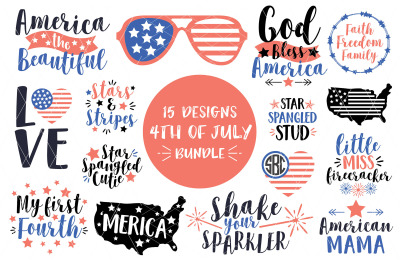 4th of July SVG DXF PNG EPS Bundle