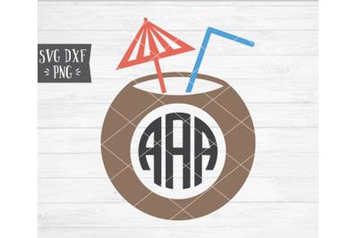 Coconut Monogram Frame SVG DXF PNG