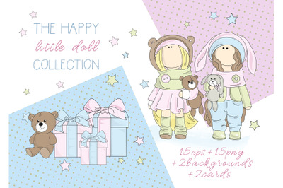DOLLS Tilda Cartoon Vector Illustration Digital Paper Set for Print