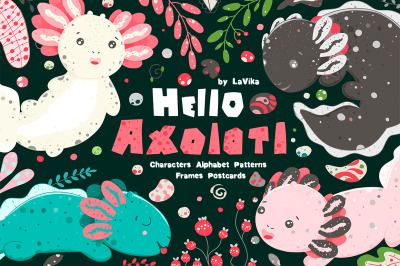 Hello Axolotl - Cute graphic set