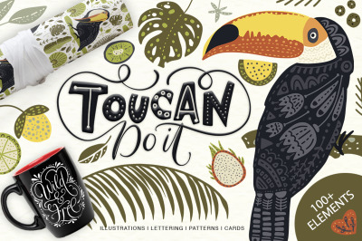 Toucan. Folk Art Graphic Set.