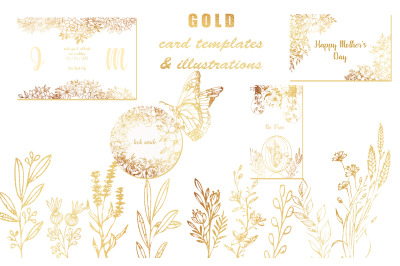Gold Card templates and floral illustrations