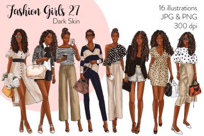 Watercolor Fashion Clipart - Fashion Girls 27 - Dark Skin