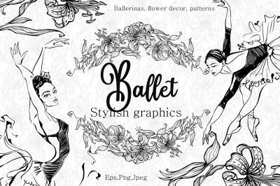 Ballet. Ballerinas, and lilies. Stylish graphics.
