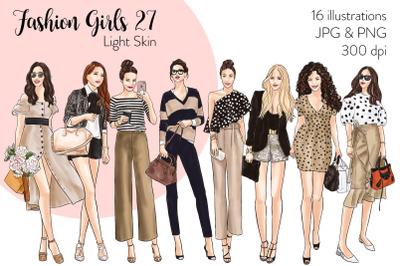 Watercolor Fashion Clipart - Fashion Girls 27 - Light Skin