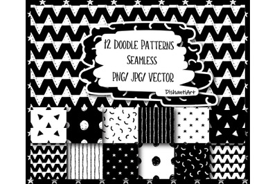 12 Hand Drawn Doodle Monochrome Patterns. Trendy, Abstract Doodle Digi