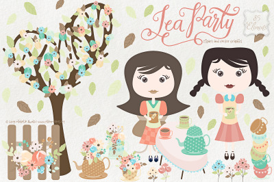 Tea Party 01 Clipart and Vector Graphics