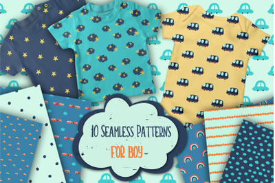 10 Doodle Hand Made Vector Patterns for boy