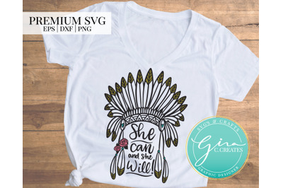 She Can and She Will, Feather headdress SVG Cut File