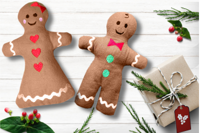 Gingerbread Boy and Girl Plush Toy in the Hoop ITH Set | Embroidery