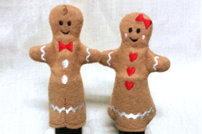 Gingerbread Boy and Girl Finger Puppet Set in the Hoop ITH | Embroider
