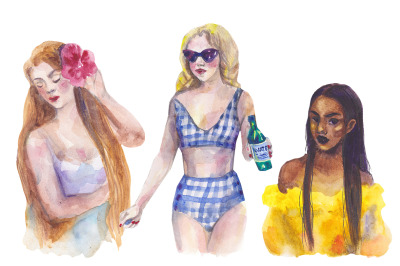 Watercolor summer girls