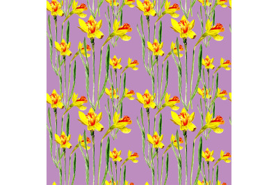 Seamless pattern with narcissuses.