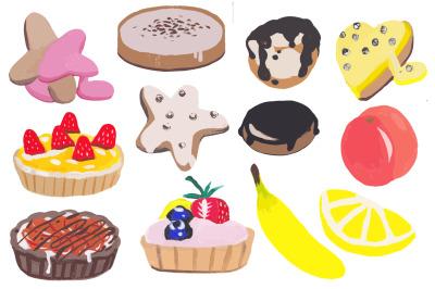 12 vector elements, fruits, cookies, cupcakes