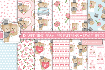 Wedding digital paper, Wedding patterns, Bride and groom  -P39