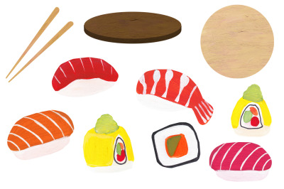 Sushi hand drawn tasty set
