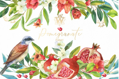 Pomegranate red floral clip art, watercolor