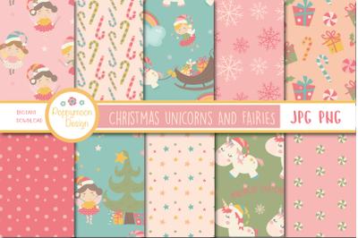 Christmas Unicorns & fairies paper