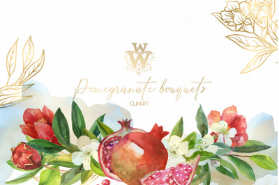 Red flower watercolor bouquet wedding border clip art, pomegranate