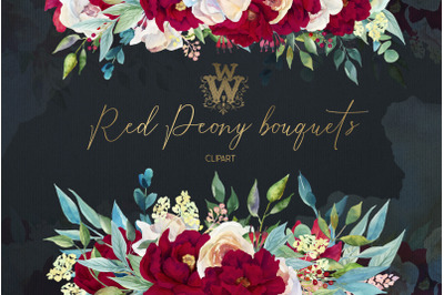 Red peonies wedding border, watercolor floral bouquet