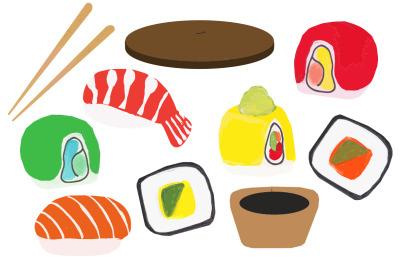 Sushi illustrations  vector food set