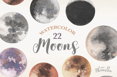 Moons 22 Elements Watercolor Files Night sky