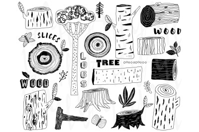 Hand Draw Wood Logs Elements