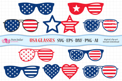 4th of July Glasses SVG