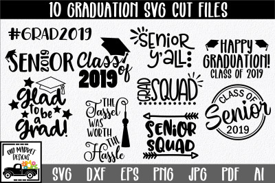 Graduation SVG Mini Bundle with 10 SVG Cut Files