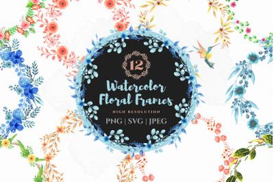 Watercolor floral bouquet wreath
