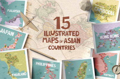 15 maps of Asian countries