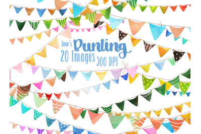 Watercolor Bunting Clipart