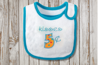 Kisses 5 Cents Valentine's Day | Applique Embroidery