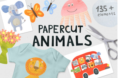 Papercut Animals Clipart
