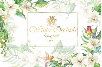 Watercolor tropical flower border clip art, white orchid bouquets