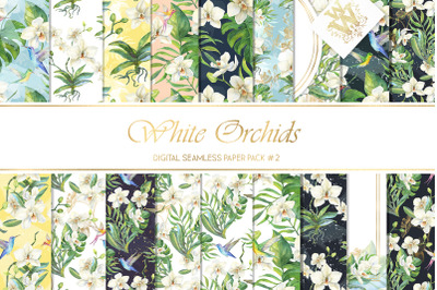 White tropical summer flower wedding seamless backdrop  orchid floral