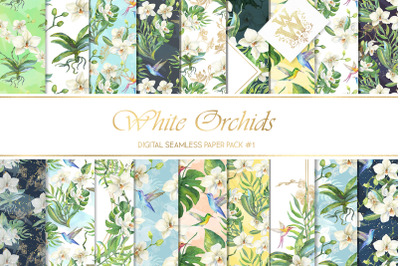 Tropical floral seamless pattern, summer backdrop orchid, hummingbird