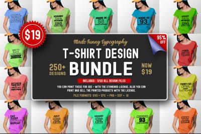 250 Funny T-shirt Design Bundle
