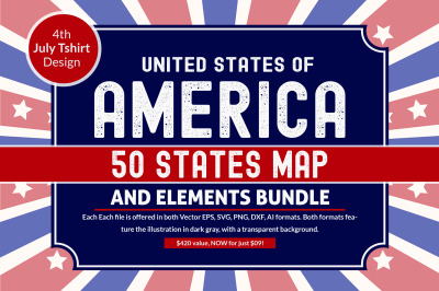 US States - 4th July design Element