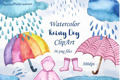 Watercolor rainy day clipart