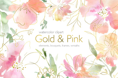 Pink Gold Watercolor Flowers Frames Wreaths PNG
