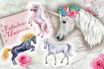 Fabulous Unicorns. Watercolor